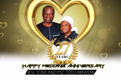 Happy 27th Anniversary to Rev Tony & Pst Tutu Akinyemi